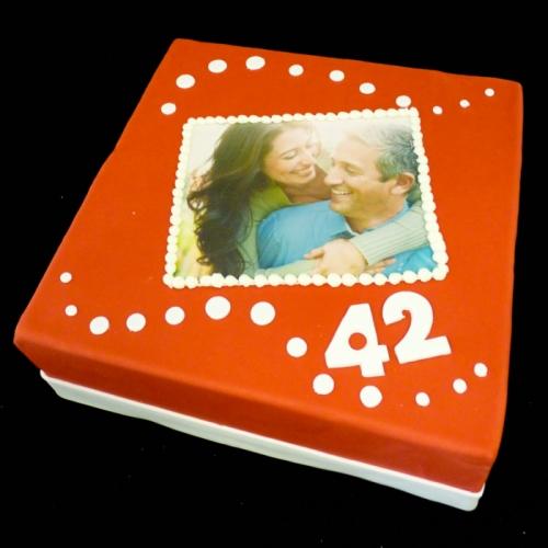 Foto taart - stippen op rood