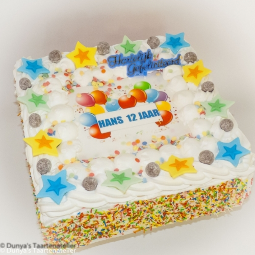 Slagroom taart met tekst in afbeelding