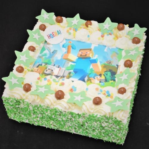 Slagroomtaart met afbeelding (Minecraft) in groen tinten