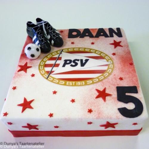 Voetbal taart met PSV logo