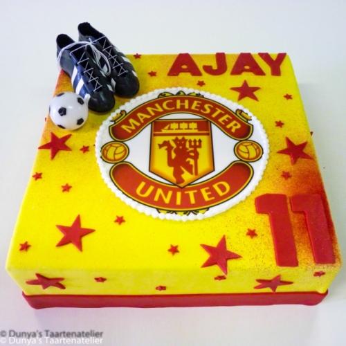 Voetbal taart met Manchester United logo
