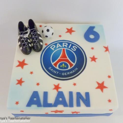 Voetbal taart met PSG logo