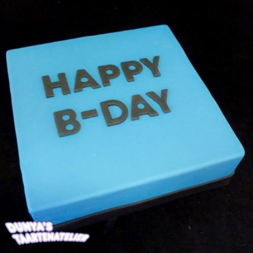 Happy bday - zwart op fel blauw