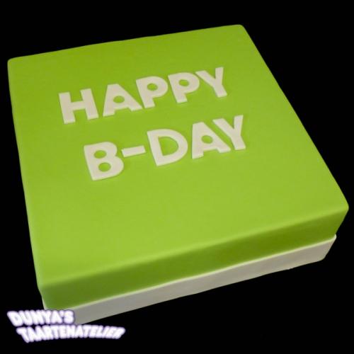 Happy Bday - wit op fel groen
