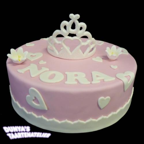 Kroon of Tiara op taart - Fuchsia-wit