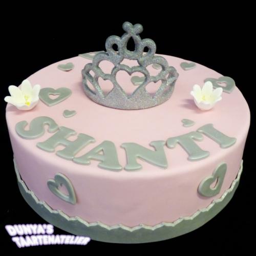 Kroon of Tiara op taart - Roze - zilver