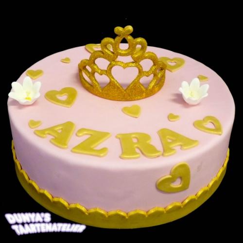 Kroon of Tiara op taart - Roze - goud