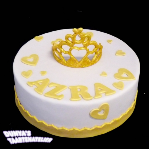 Kroon of Tiara op taart - Wit - goud