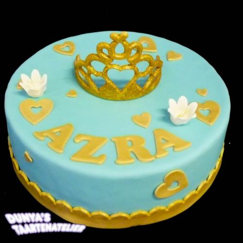 Kroon of Tiara op taart - Blauw - goud