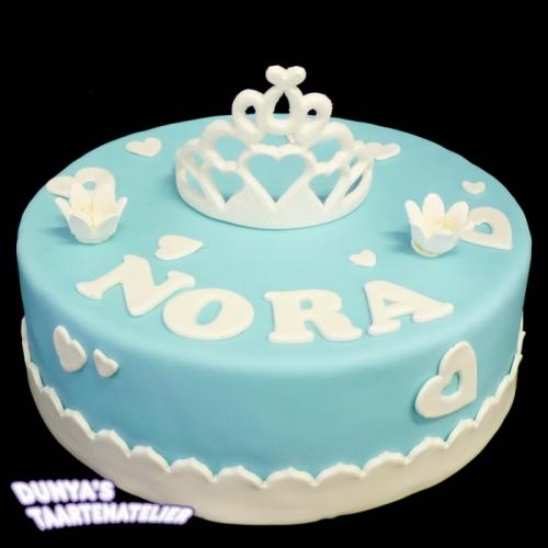 Kroon of Tiara op taart - Blauw-wit