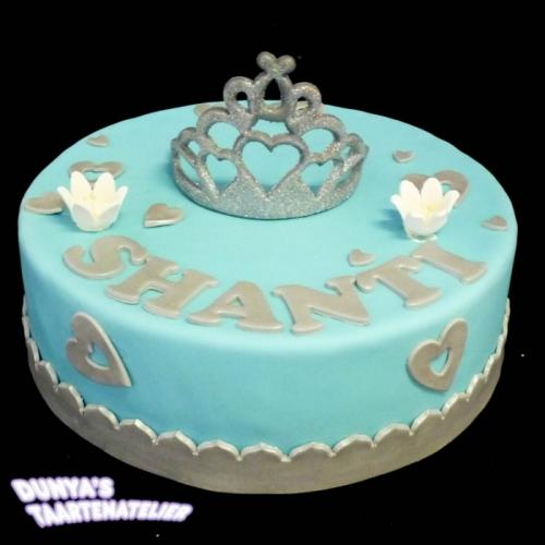 Kroon of Tiara op taart - Blauw - zilver