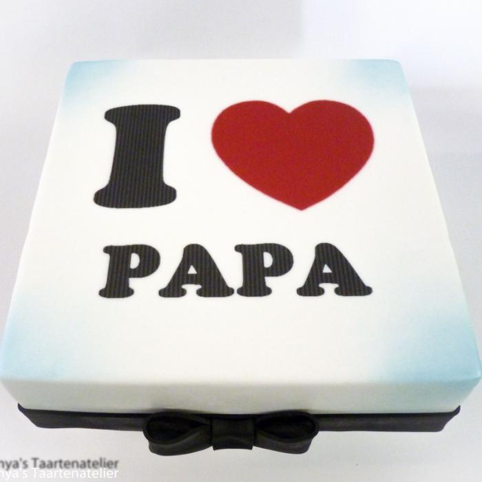 Taarten  met cijfers en/of tekstI love Papa