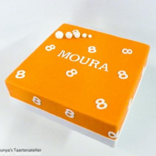 Cijfers en tekst - wit op oranje