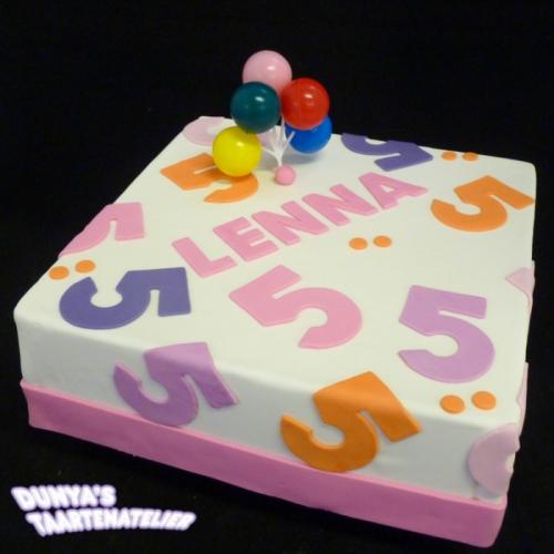Cijfers en tekst - roze/lila/oranje