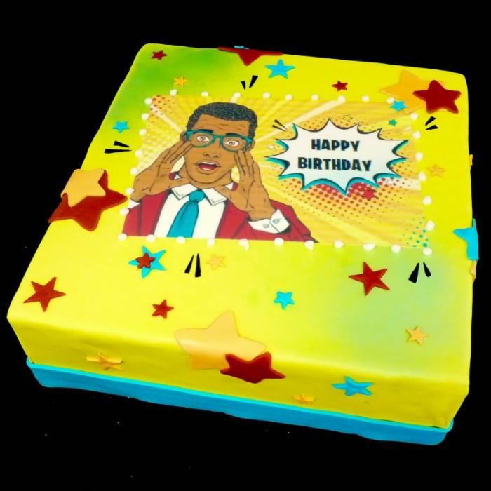 Taarten met POP ART afbeeldingShout; Happy Birthday