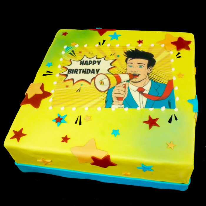 Taarten met POP ART afbeeldingMegaphone; Happy Birthday