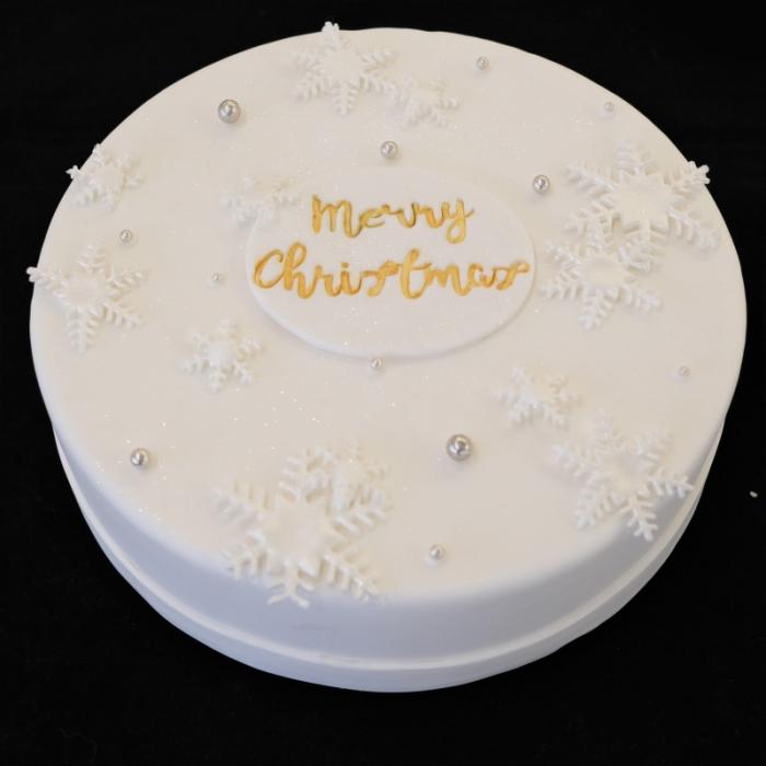 Kersttaarten met decoratie en tekstMerry Christmas - White Snow
