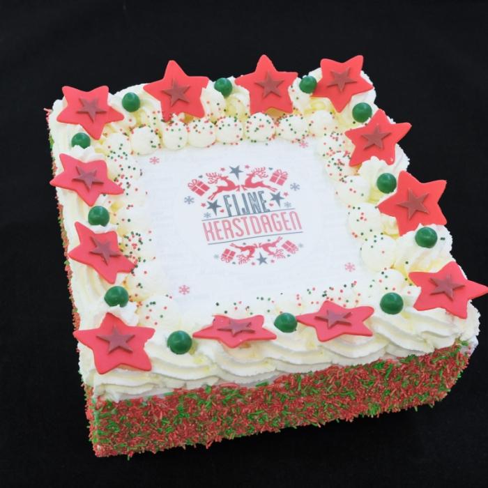 Kerst slagroomtaarten met afbeelding,foto of logoKerst Slagroomtaart - Fijne Kerstdagen