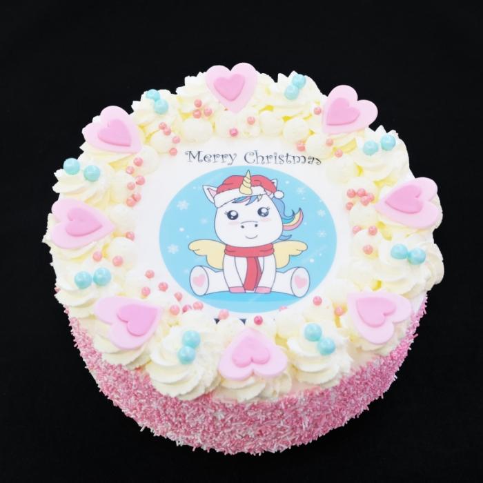 Kerst slagroomtaarten met afbeelding,foto of logoKerst Slagroomtaart - Unicorn