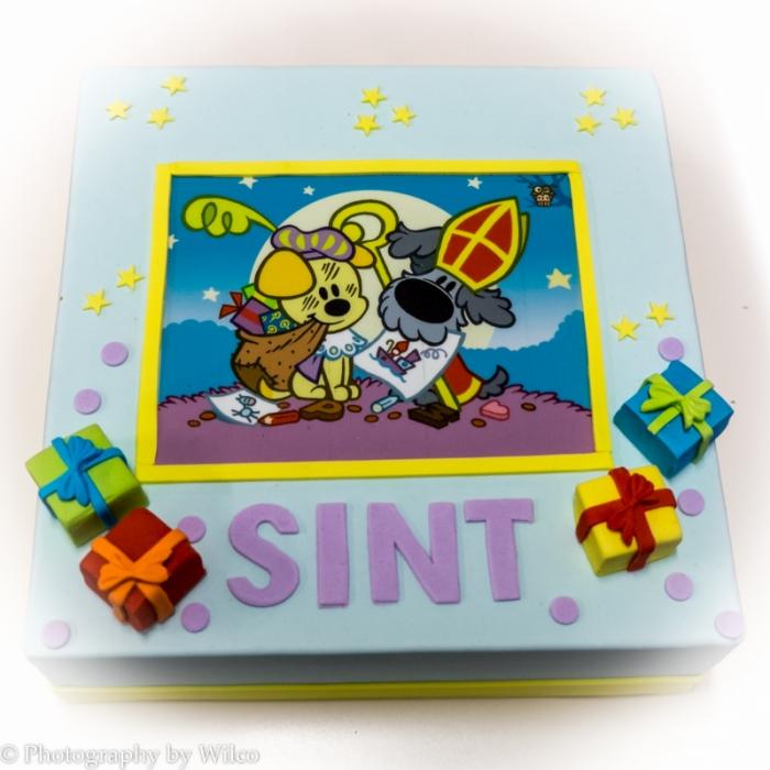 Sint taarten met afbeelding, foto of logoSintfeest met Woezel en Pip