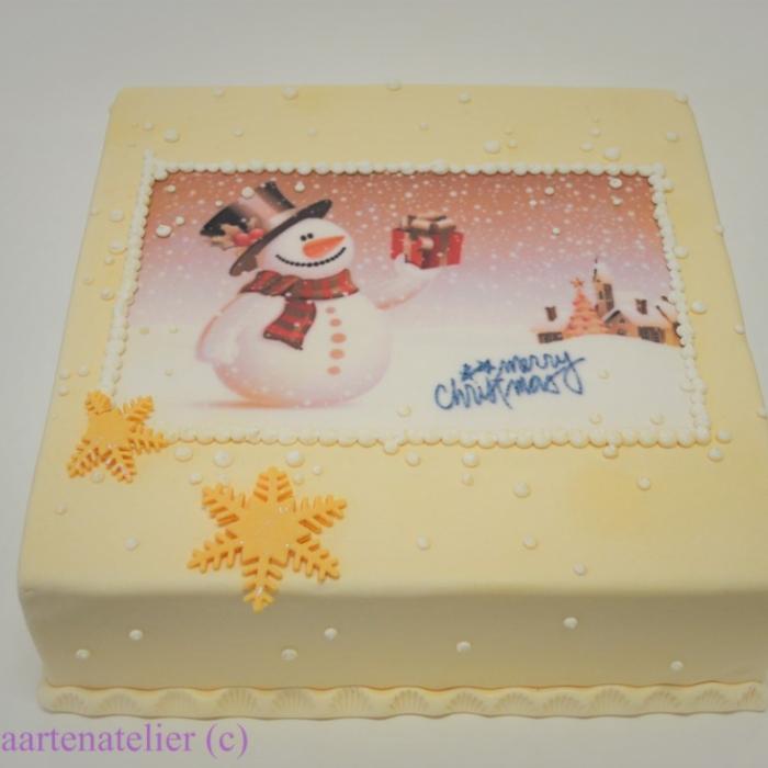 Kersttaarten met afbeelding, foto of logoSnowman
