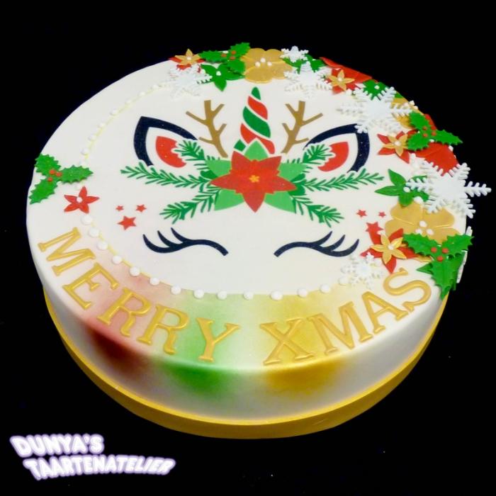 Kersttaarten met afbeelding, foto of logoUnicorn Christmas