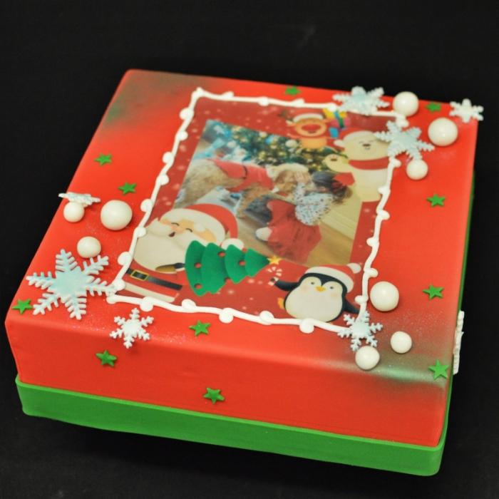 Kersttaarten met afbeelding, foto of logoEigen foto in Kerstframe