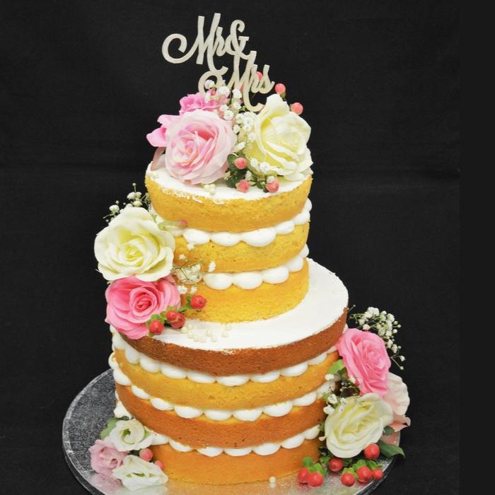 Dunya's Naked Wedding CakeDunya's Naked  Flower wedding cake (2 cakes)