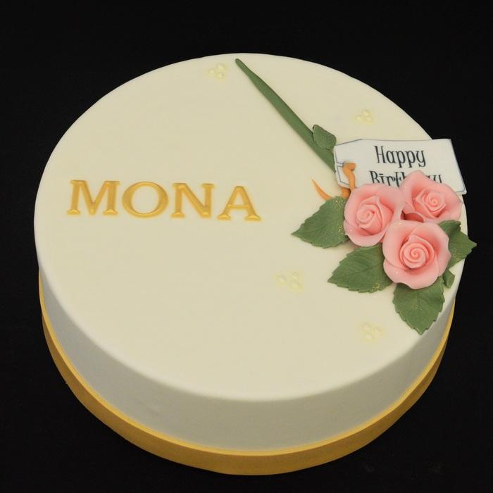 Taarten met bloemenRoosboeket Roze (mona)
